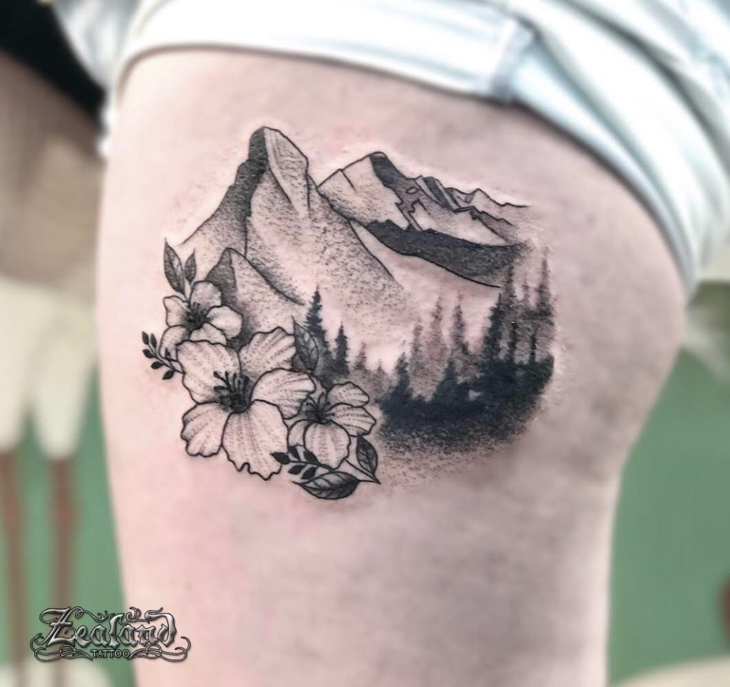 Mountain nature floral dot work soft shading tattoo