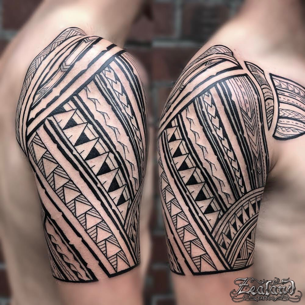 Polynesian Samoan sleeve and chest tattoo